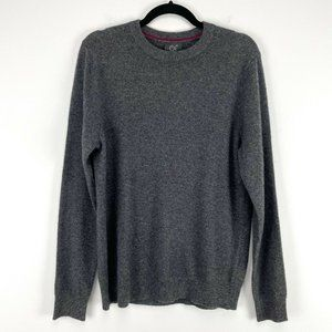 NWT Qi Cashmere Mens Gray Crew Neck Knit Sweater